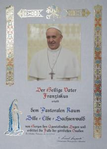 """Segen von Papst Franziskus für den Pastoralen Raum """"Bille-Elbe-Sachsenwald"""""""